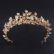 Nueva Moda Magnífico Cristalino de La Perla Nupcial Tiaras de La Corona de Oro Clásico Diadema diademas para Mujeres Accesorios Para el Cabello de Novia de la Boda