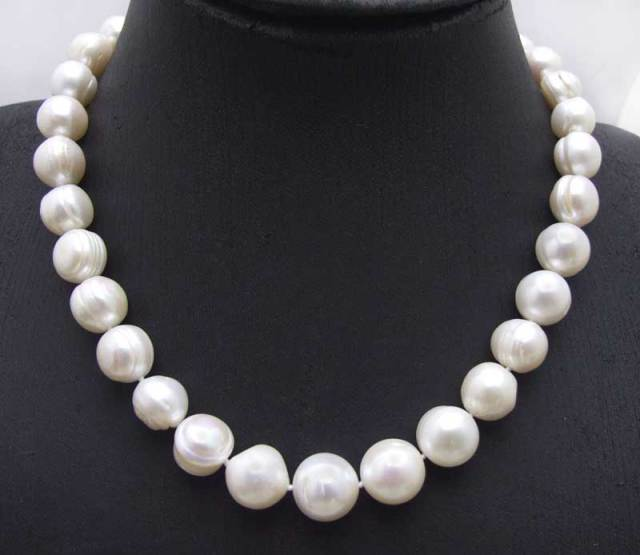 "SALE Big 10-13mm white Round Natural freshwater PEARL 17"" Necklace-nec6062 wholesale/retail Free shipping"