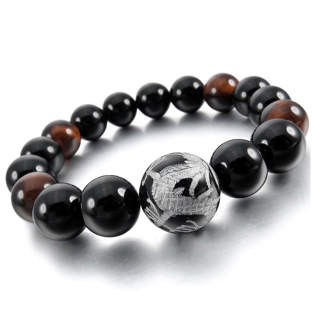 12 мм браслет наручные Connection Stone черный, серебристый цвет Дракон Будда четки из бисера мужчина, женщина