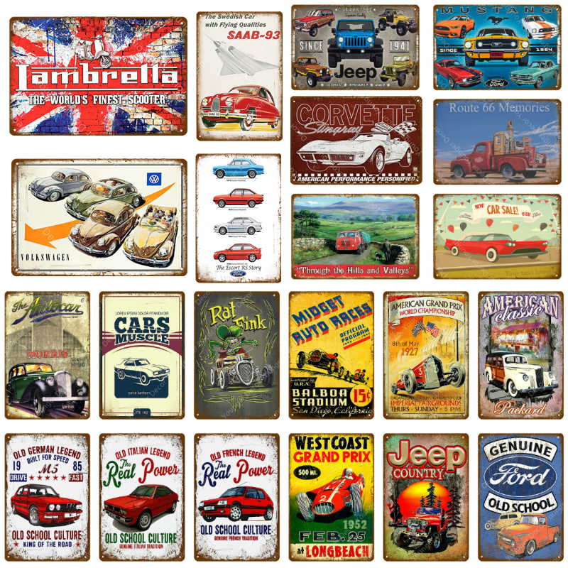 American Classic Bus Car Truck Metal Signs Vintage Home Decor Pub Bar Club Garage Decorative Plate Metal Painting Poster