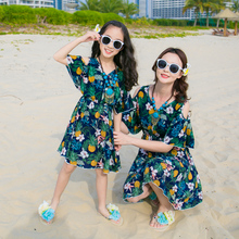 Купить с кэшбэком Off Shoulder Mother Daughter Dresses Mommy and Me Clothes Family Look Mama Mom Daughter Matching Outfits Beach Dresses Clothes