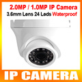 2mp/1mp 1080 p/720 p al aire libre mini domo ip cámara de metal de 1920*1080/1280*720 cámara de red ir 20 m compatible con pc y iphone android view