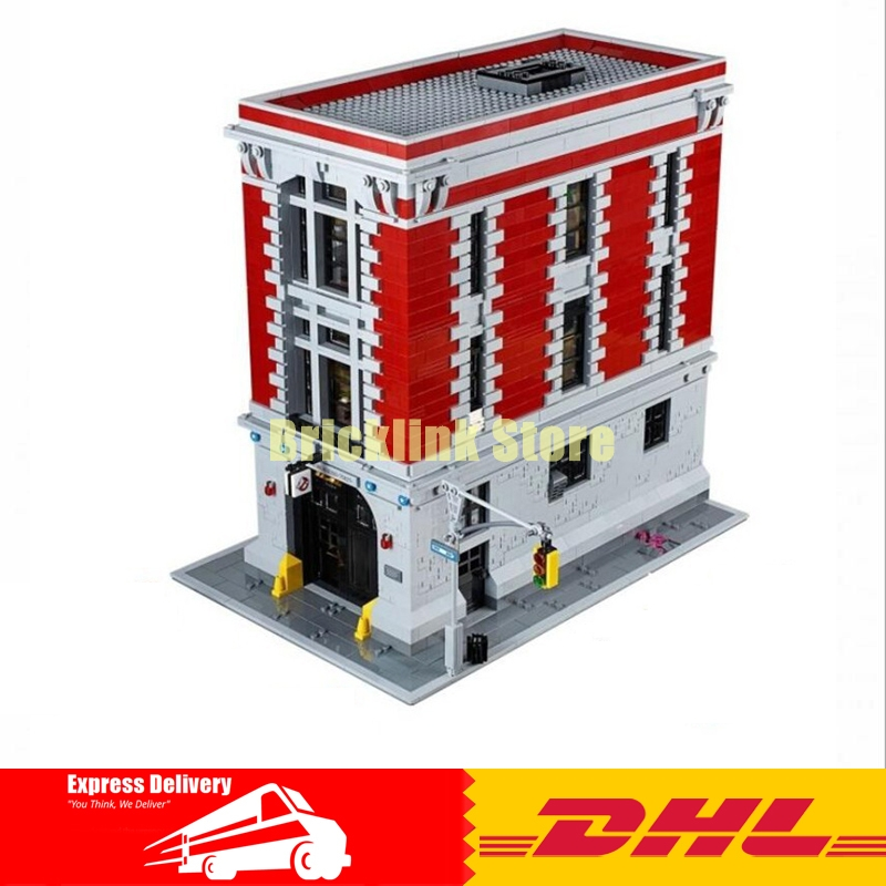 IN STOCK LEPIN 16001 4695Pcs Ghostbusters Firehouse Headquarters Model Building Kits DIY Toy set brin quedos Compatible 75827 4695pcs lepin 16001 city series firehouse headquarters house model building blocks compatible 75827 architecture toy to children