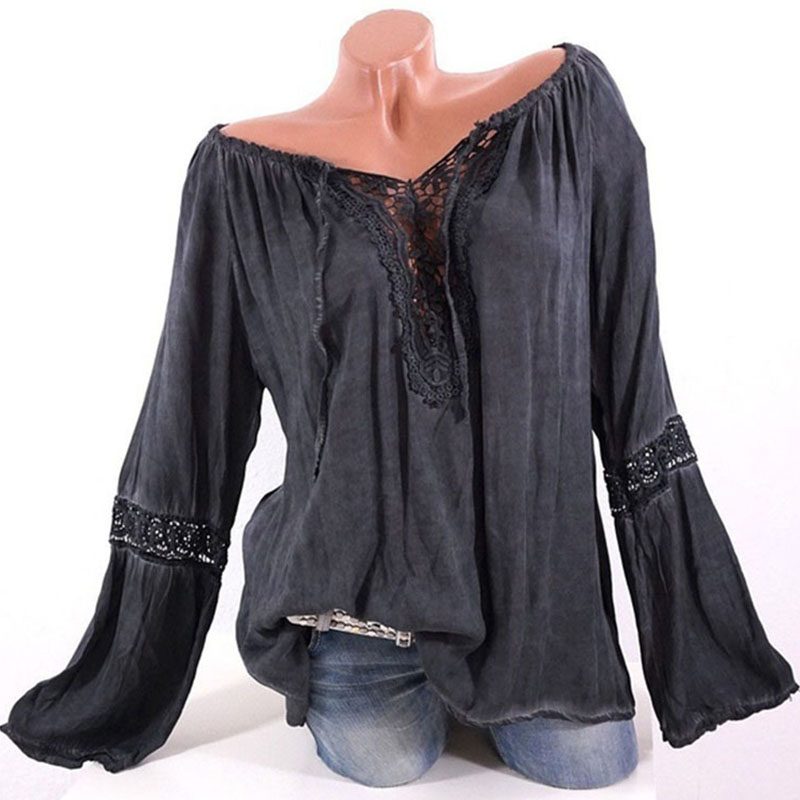 5xl Plus Size Hollow Out Lace Blouse Off The Shoulde Puff Long Sleeve Pink Shirt Fall Vogue Lace Up Patchwork Solid Ladies Top