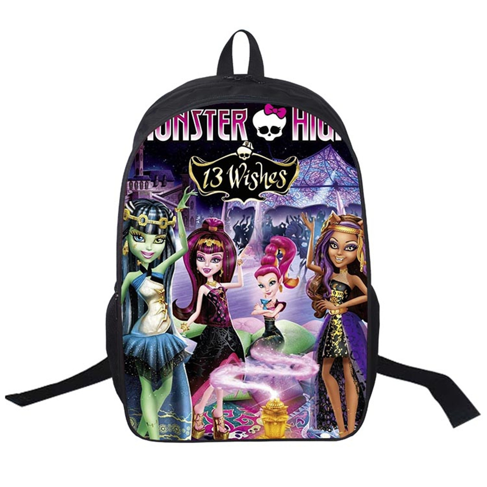 2017 Women Bags moive Monster High Backpack Students School Bag For Girls Boys Rucksack mochila Private customize купить