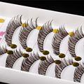 Pestanas Falsas naturais de 10 Pares Preto Clipe Marrom Cruzado Sujo Macio Fio de Algodão Hastes Cílios Postiços Cílios Maquiagem