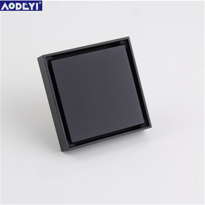 AODEYI Free Shipping New 100% Brass Shower Drain Bathroom Floor Drain Tile Insert Square Anti-odor Floor Waste Grates 100X100 hm floor drain brass square shower drainer grate waste tile insert square floor waste grates bathroom drains drain strainers