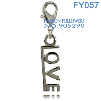 Fashion Jewelry Necklaces & Pendants Accessories Silver Plated Lucky Love Floating Charms With Lobster Clasp Free Shipping FY057