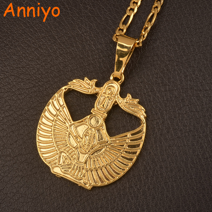 Anniyo Gold Color Egyptian Ankh Cross Goddess Pendant Necklaces for Women/Men Wicca Pagan Jewelry Egypt African Religion #106506