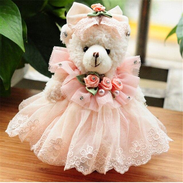Buquês de flores Urso de Peluche Pequeno Modelo 15 CENTÍMETROS Acessório do Casamento Vestido De Festa de Algodão Brinquedos de Pelúcia Urso Boneca de presente de Natal