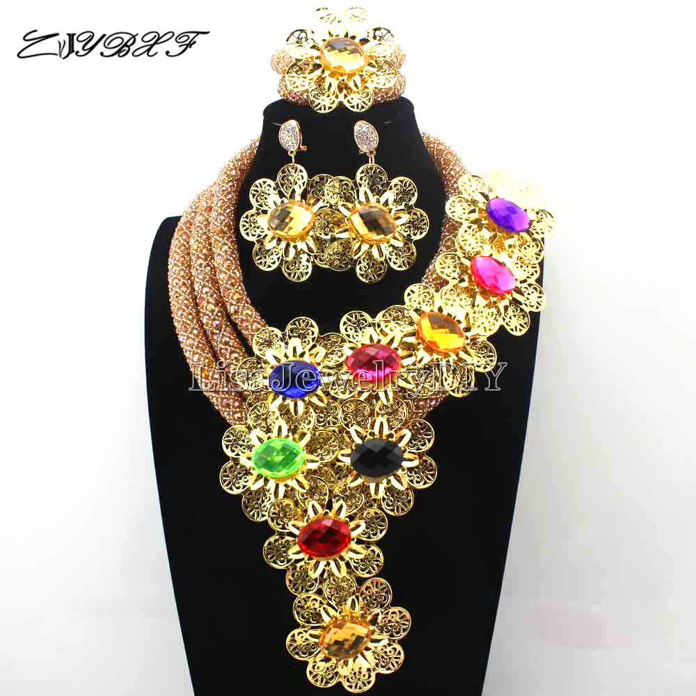 Exclusive  Crystal Statement Necklace Set Wedding African Multicolour  Flower Jewelry Set for Women Free Shipping L1101