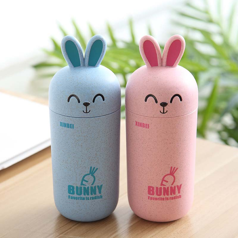 415ML Health PP Plastic Children Learn Drinking Bottle Cute Rabbit Kids Milk Cup Leak-<font><b>poof</b></font> My <font><b>Baby</b></font> Feeding Cup BPA Free image