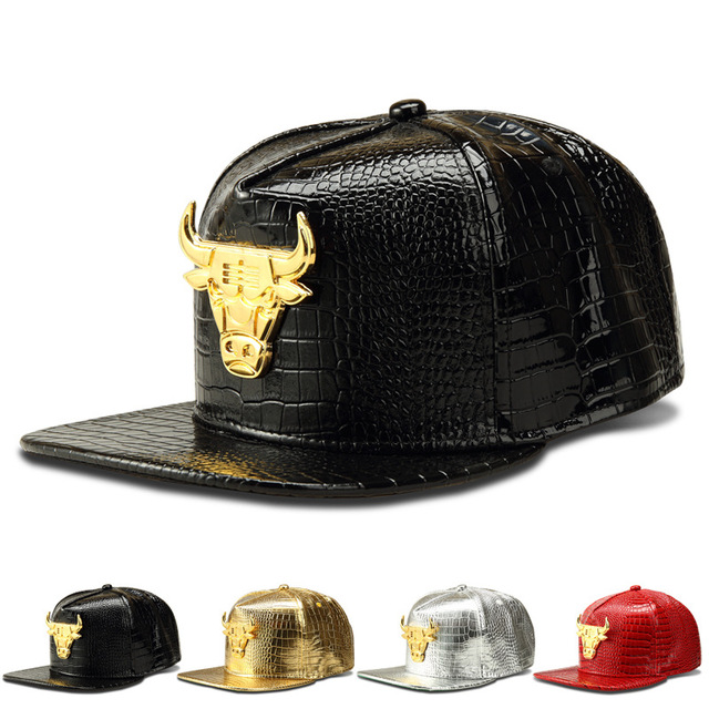New Hot Sale Fashion Bull Alloy Hip Hop Baseball Cap Snapback Faux Leather Swag Caps Gorras Breathable Hat For Women And Men