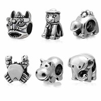 925 Sterling Silver Animal Beads Cat Crab Elephant Lion Hippo Charms Fit Original Pandora Charms Bracelet