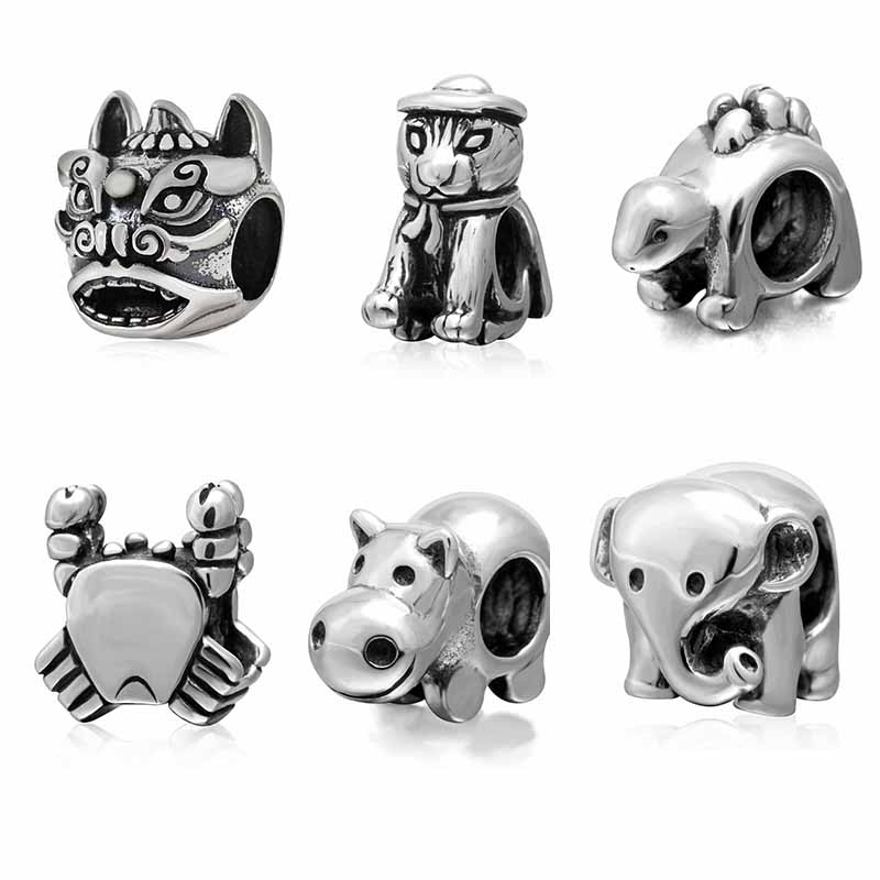 925 Sterling Silver Animal Beads Cat Crab Elephant Lion Hippo Charms Fit Original Pandora Charms Bracelet DIY Jewelry Making