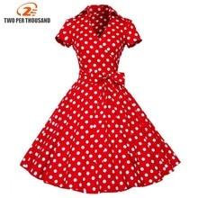 2XL plus size 2018 Summer Women Retro Vintage Pin Up Dresses 50s 60s Polka dots Cotton Dress Short sleeve Vestido de fiesta
