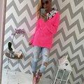 Weatshirt Женщин Моды Лоскутное Пуловер С Капюшоном Толстовки Цветочный Печати С Длинным Рукавом Случайно Костюм Пальто
