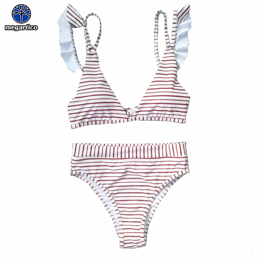 Megartico <font><b>bikini</b></font> 2018 brazilian <font><b>sexy</b></font> maillot de bain femme 2018 <font><b>taille</b></font> <font><b>haute</b></font> red white stripe swimming suit for women two pieces image