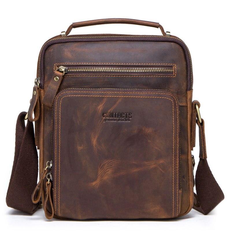 Hommes sac en cuir véritable Messenger sac épaule bandoulière rétro petit mâle Pack retour Mochila rabat affaires voyage sacs à main cadeau