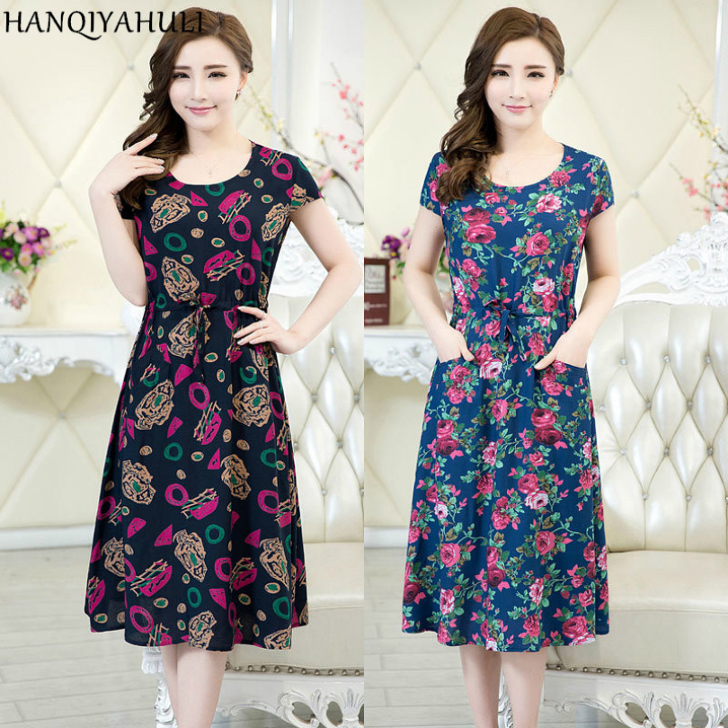 XL-5XL 2018 Women clothing medium-long one-piece dress short-sleeve o-neck loose plus size female summer style dresses Vestidos