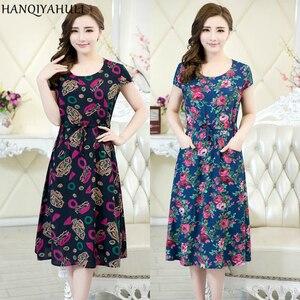 Xl-5xl 2019 Women Clothing Medium-long One-piece Dress Short-sleeve O-neck Loose Plus Size Female Style Dresses Vestidos
