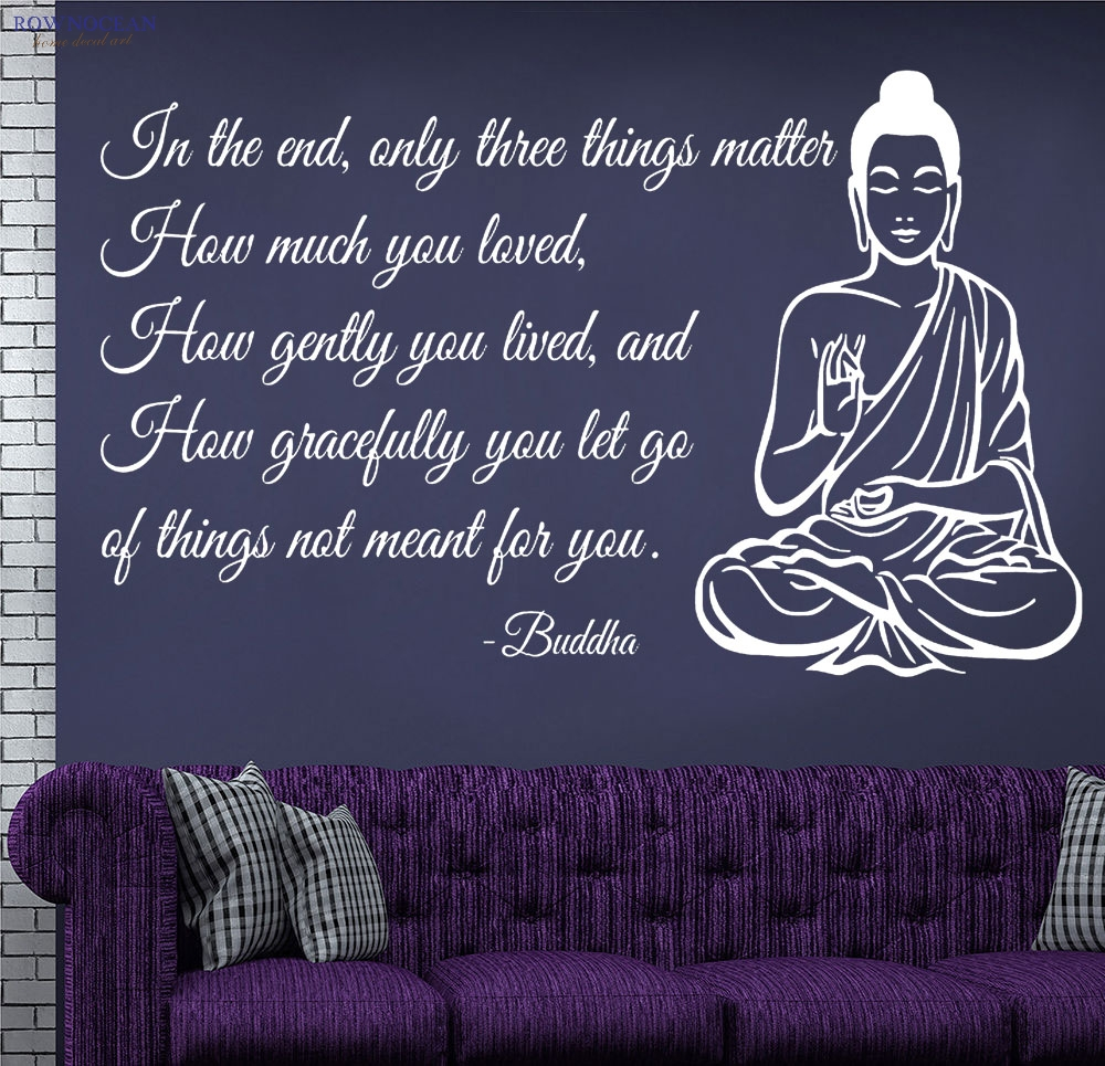 Բուդդայի արձանը Meditating Vinilos Art Wall Sticker Text Sofa Background Background Godity Posters on the Wall Home Decor for Living Room F-01