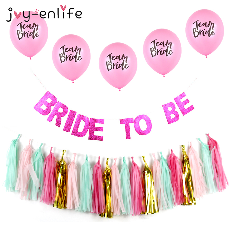 JOY ENLIFE 1set Bride To Be Banner Paper Tassels Team Bride Balloon Wedding Decor Bridal Shower