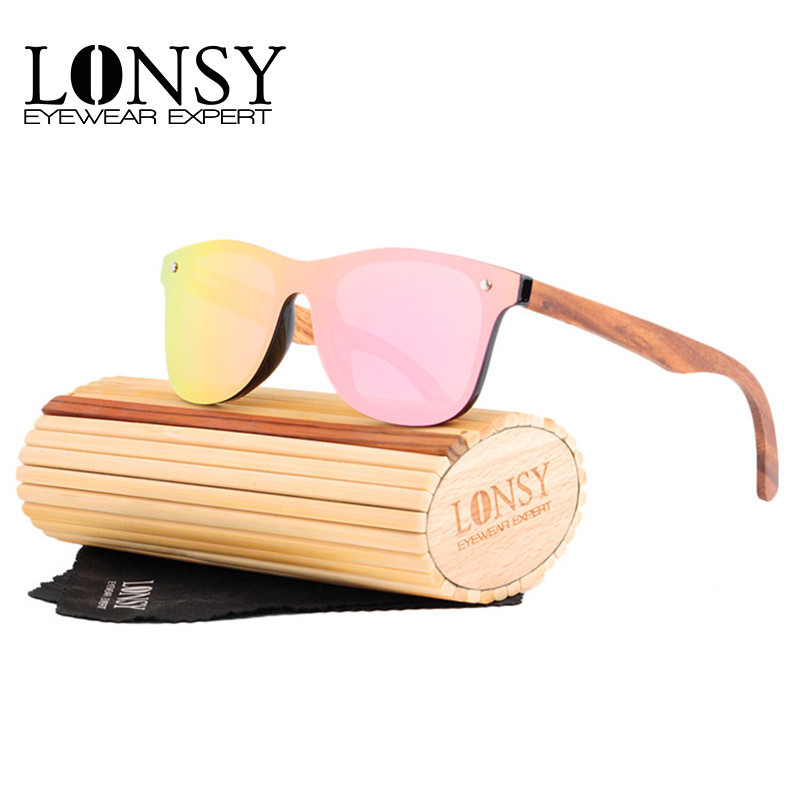 LONSY Retro Wood Sunglasses Men Bamboo Sunglass Women Luxury Brand Design Vintage Sun Glasses For Women Oculos de sol masculino