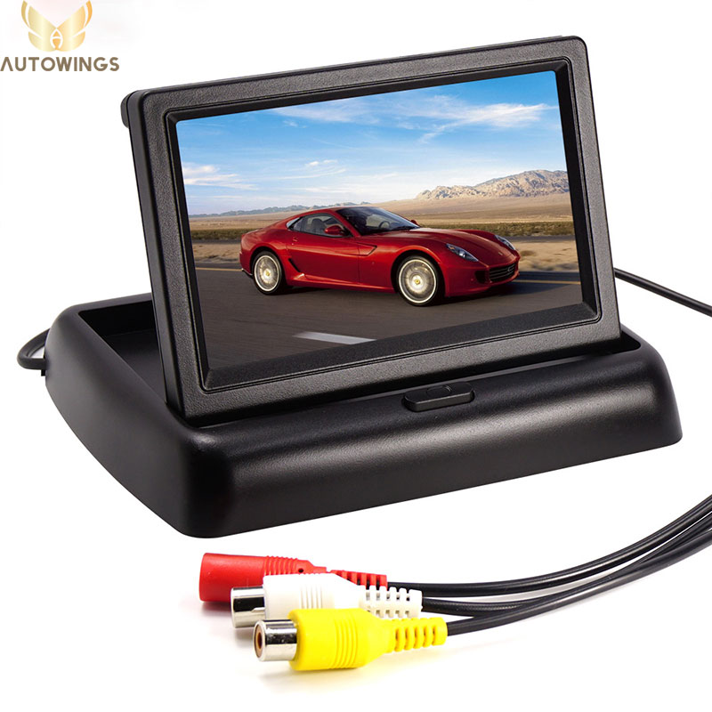 imágenes para 4.3 pulgadas TFT LCD de Coches Aparcamiento Monitor De Vista Trasera Automática Monitor de La Cámara de copia de seguridad 480*272 16:9 Pantalla de 2 Vías de Entrada de Vídeo DVD VCD