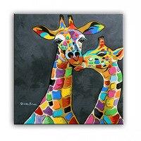 Olieverf handgemaakte Moderne Canvas Thuis woonkamer Decor woondecoratie schilderen Art Kleurrijke koppels een giraffe 17022215