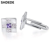 Luxury Crystal Cufflinks For Men Cuff Links Crystal From Swarovski Elements Wholesale Fashion Jewelry 19324