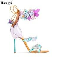 2018 сезон: весна–лето 3D бабочка женские босоножки в стиле панк очень высокий каблук Роскошные модные Дизайн обувь для вечеринки, свадебные т...