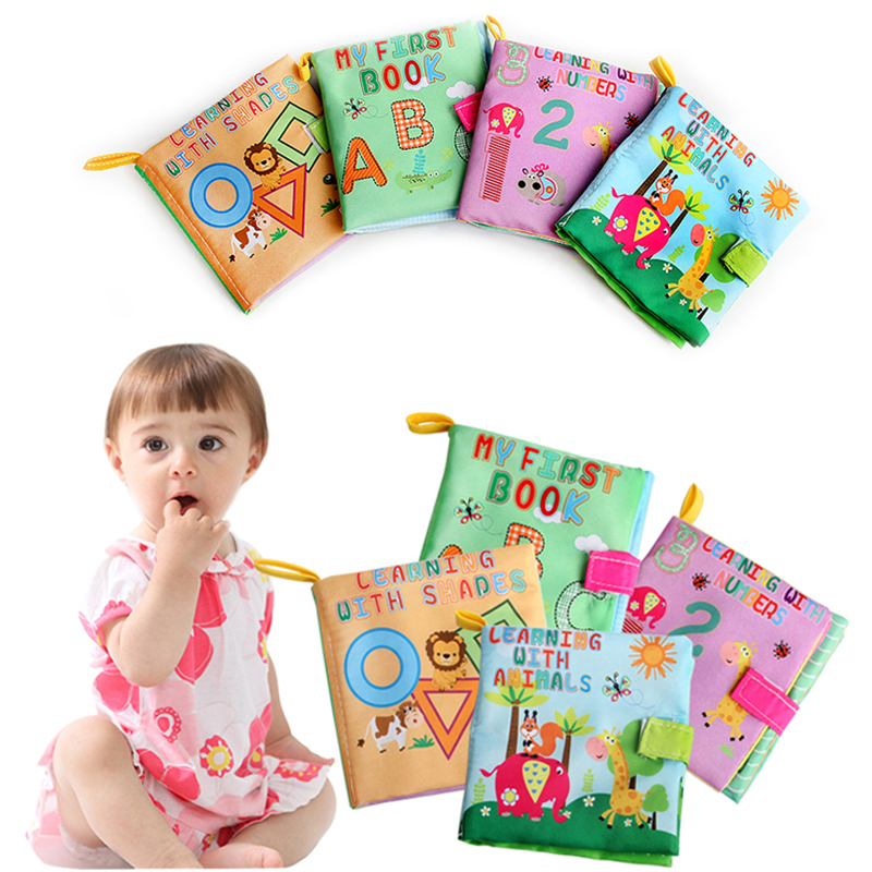 4 Style Baby Toys Soft Cloth Books Rustle Sound Infant Educational Stroller Rattle Toy Learning Pattern Animal