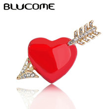 Blucome Red Heart Arrow Brooches For Lover Girls Crystals Enamel Jewelry Best Gifts Scarf Shoulder Suit Collar Corsage Clips Pin