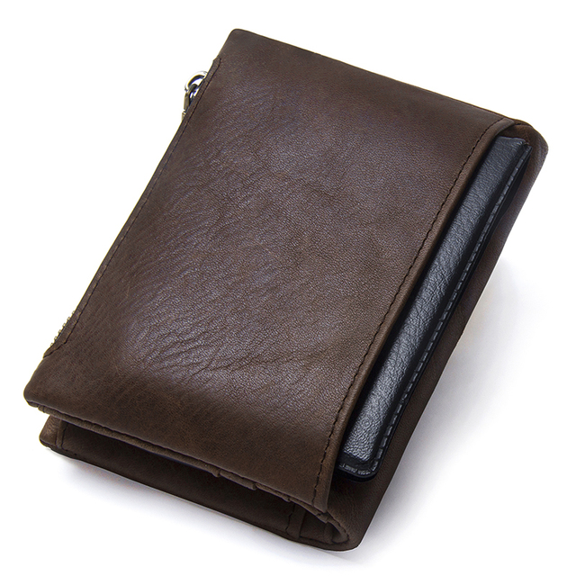 Mens' Genuine Leather Small Zipper Wallet
