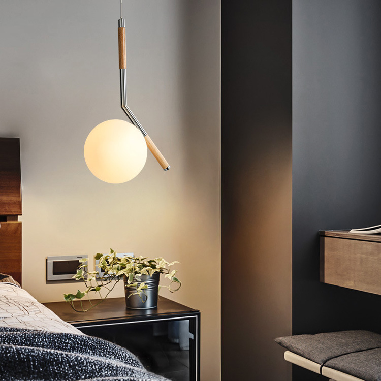Modern Led Wooden Hanging Lamp Frosted Glass Lampshade Livingroom Bedside Nordic Pendant Lights Fixture Wood Droplight Iron Rod one light frosted glass antique rust hanging lantern