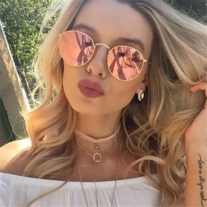 Round Sunglasses Oculos-De-Sol Female Retro Designer Women Alloy Mirror