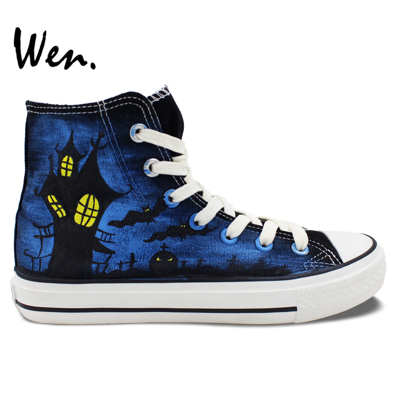 ФОТО Wen Hand Painted Shoes Design Custom Holloween Holiday Birthday Gifts for Girls Boys High Top Canvas Sneakers