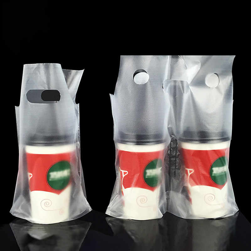 Disposable Cup Bags Coffee Doggy Bag Take-away Drinking Packing Tools Pastic Double Cups Carrier Bottle Handbag 50pcs