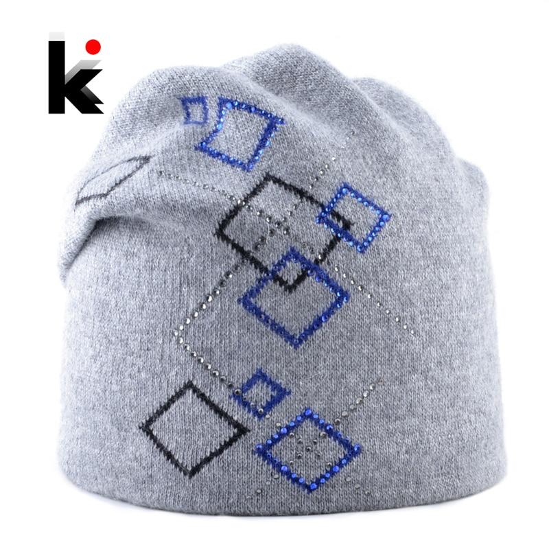 Winter Hats For Women Warm knitted Wool   Beanies   Ladies New Fashion Knitting Plaid Rhinestone Caps Female Angora   Skullies     Beanie