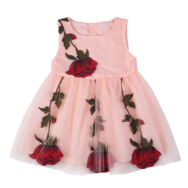 Girls Summer Flower Embroidered Rose Dress Children Kids Sleeveless O-Neck Mini Lovely Dress женское платье summer dress 2015cute o women dress