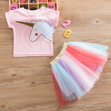 Girls Unicorn Dress Set Summer Birthday Party Clothing For Baby Girl 2-6Y Unicorn T-shirt + Colorful Skirt Sets for Princess Kid(China)
