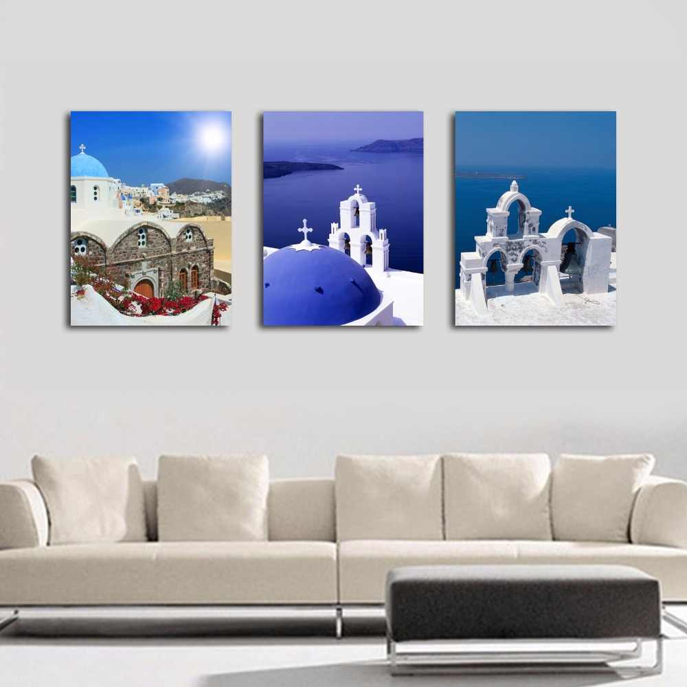 3 Pieces/set HD Printed Painting of Aegean Sea Painting on Canvas Room Decoration Print Poster Pictures Frame art-032