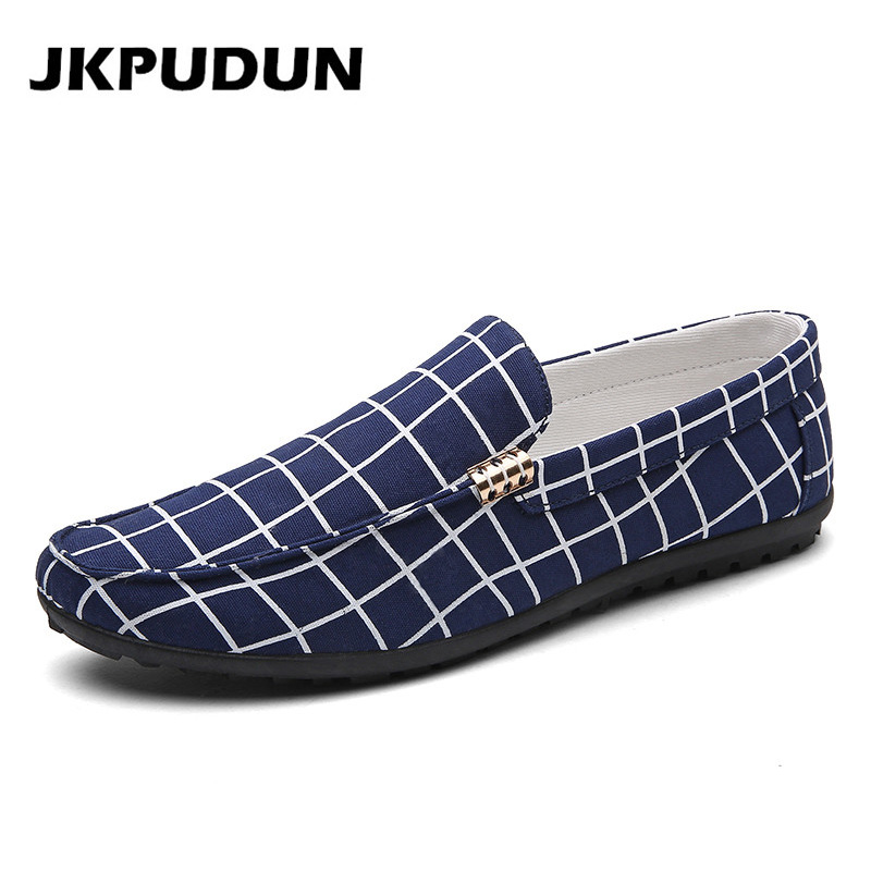 JKPUDUN Men Canvas Gingham Shoes Casual Penny Loafers