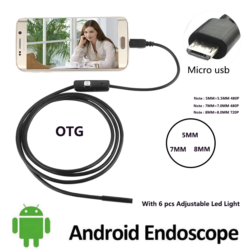 7MM 5.5MM 480P 2M Cable 8MM 720P 1M 5M Endoscope Camera Flexible Mirco Usb Android Borescope Cam Tube Inspection Car-detector 7mm lens mini usb android endoscope camera waterproof snake tube 2m inspection micro usb borescope android phone endoskop camera