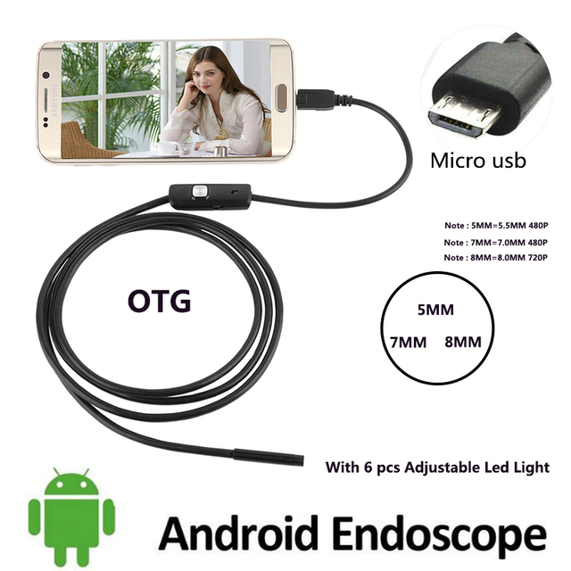 US $7 93 20% OFF 7MM 5 5MM 480P 2M Cable 8MM 720P 1M 5M Endoscope Camera  Flexible Mirco Usb Android Borescope Cam Tube Inspection Car detector-in