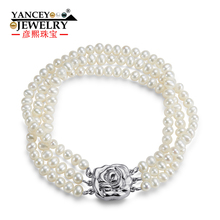 YANCEY  New natural 4-5mm white shaped bright light freshwater pearl bracelet, with 3 rows S925 Silver fashion bracelets