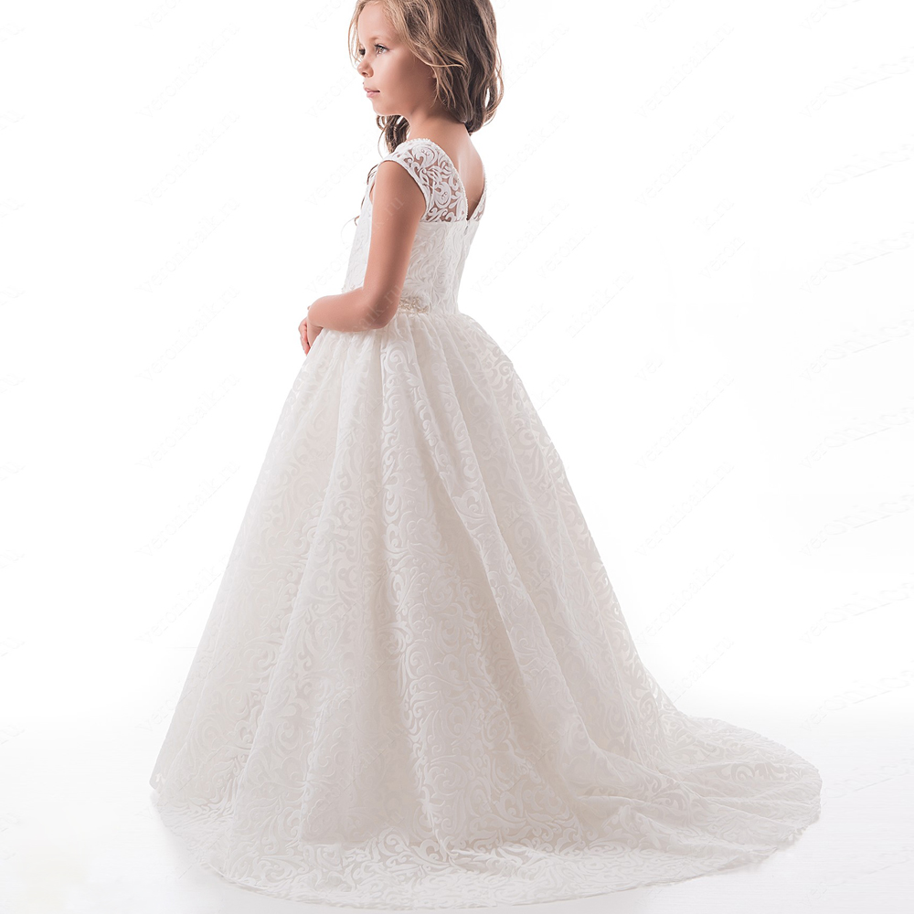 Ivory White Customized Girls First Communion Dress Crystal Belt Lace Appliques Ball Gown Birthday Gowns Flower Girl Dress in Flower Girl Dresses from Weddings Events