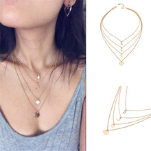 Fashion Four layer Moon Round Wafer Pendants Summer Girls Woman Clavicular Chain Short Necklace Jewelry Holiday-YYF