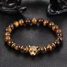 Bracelet bouddha en forme de léopard doré pour hommes et femmes, pierres naturelles de lave, œil de tigre, vente en gros